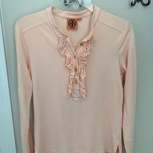 Tory Burch peach long-sleeves ruffle front shirt